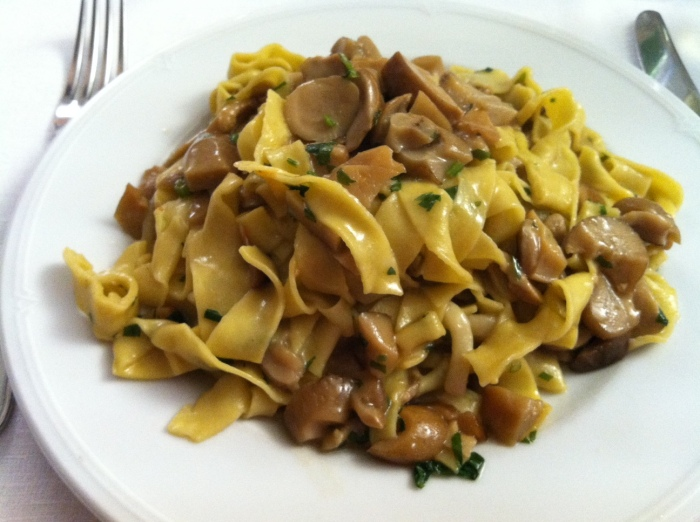 Parpadelle and mushrooms